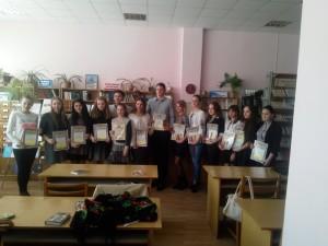 Студенти та учні ЗОШ переможці конкурсу  читців творів Л.Костенко